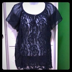 Navy lace flutter sleeve top PM